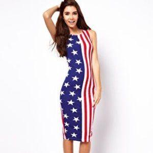 ASOS Bodycon Midi Star Stripe 4th of July Dress